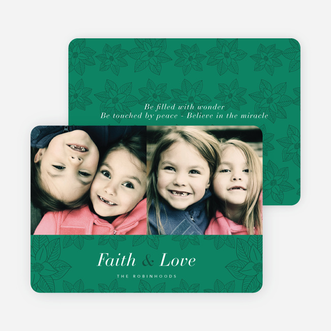 Poinsettia Holiday Cards - Green