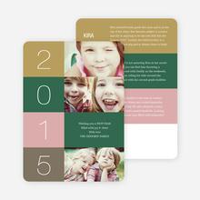 New Year's Blocks Photo Cards - Green