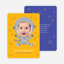Astronaut Photo Birthday Invitations - Yellow