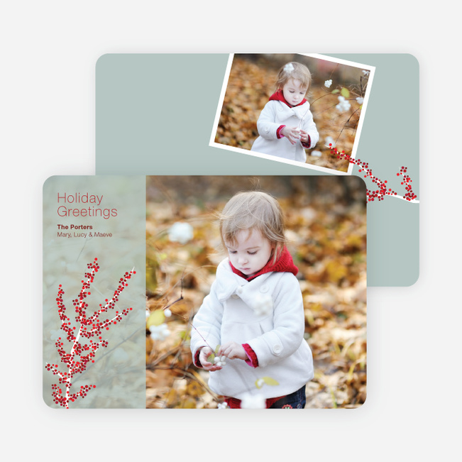 Berry Greetings Holiday Photo Cards - Sage