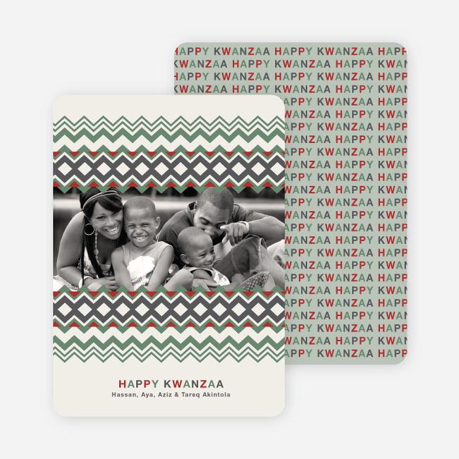 Cherished Memories Kwanzaa Holiday Photo Cards - Celadon