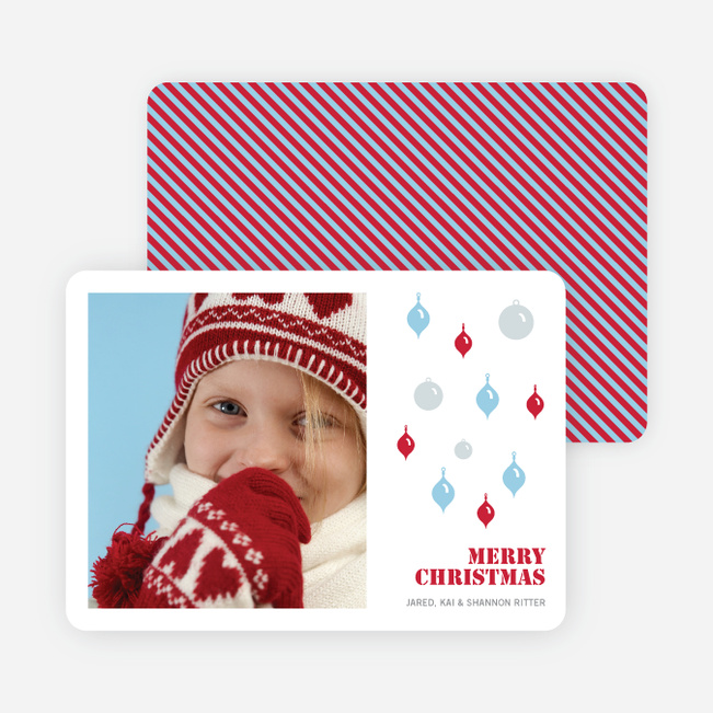 Christmas Ornaments Holiday Photo Cards - Strawberry