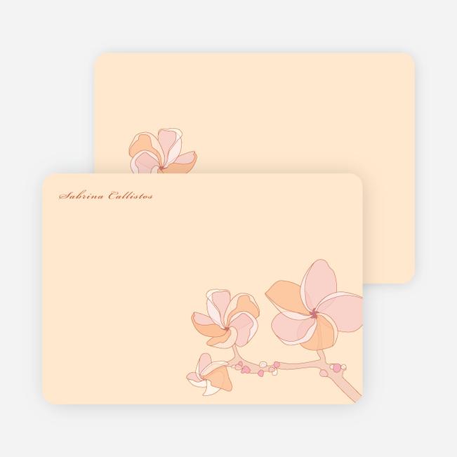 Elegant Flowers Personal Stationery - Frangipani Orange