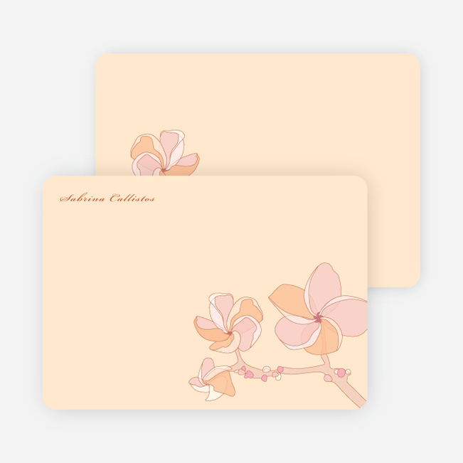 Elegant Flowers Personal Stationery - Frangipani Orange