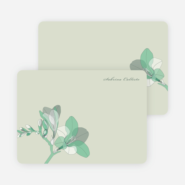 Elegant Flowers Personal Stationery - Green Moss