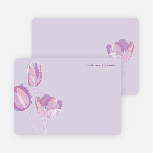 Elegant Flowers Personal Stationery - Pretty Purple