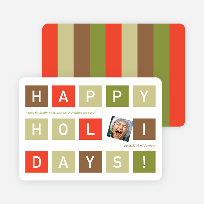 Holiday Block Photo Cards - Celery