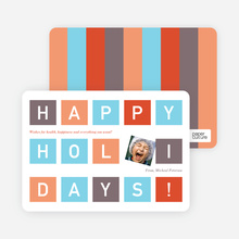 Holiday Block Photo Cards - Azure