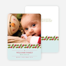 Holly Banner Holiday Photo Cards - Glacier