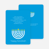 Menorah Happy Hanukkah Card - Royal Blue