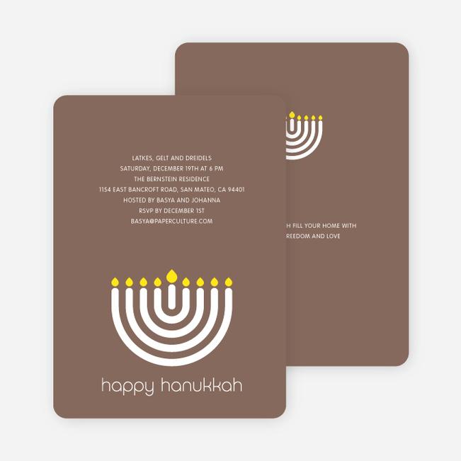 Menorah Happy Hanukkah Card - Cocoa Brown