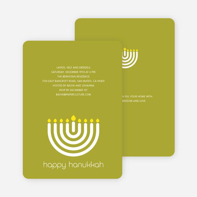 Menorah Happy Hanukkah Card - Lime Green