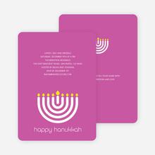 Menorah Happy Hanukkah Card - Fuchsia