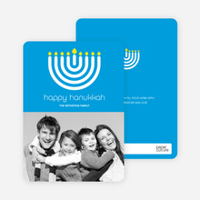 Menorah Happy Hanukkah Photo Card - Royal Blue
