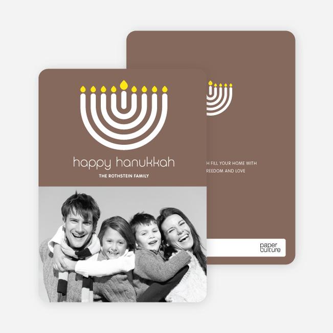 Menorah Happy Hanukkah Photo Card - Cocoa Brown