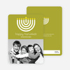 Menorah Happy Hanukkah Photo Card - Lime Green