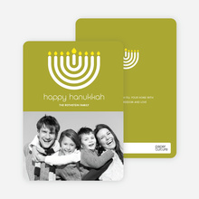Menorah Happy Hanukkah Photo Card - Lime Green