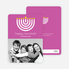 Menorah Happy Hanukkah Photo Card - Fuchsia