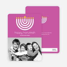 Menorah Happy Hanukkah Photo Card - Fuchsia