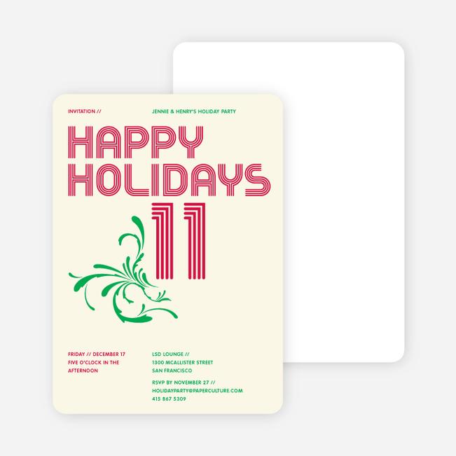 Modern and Retro Happy Holidays Splash Cards - Strawberry Red