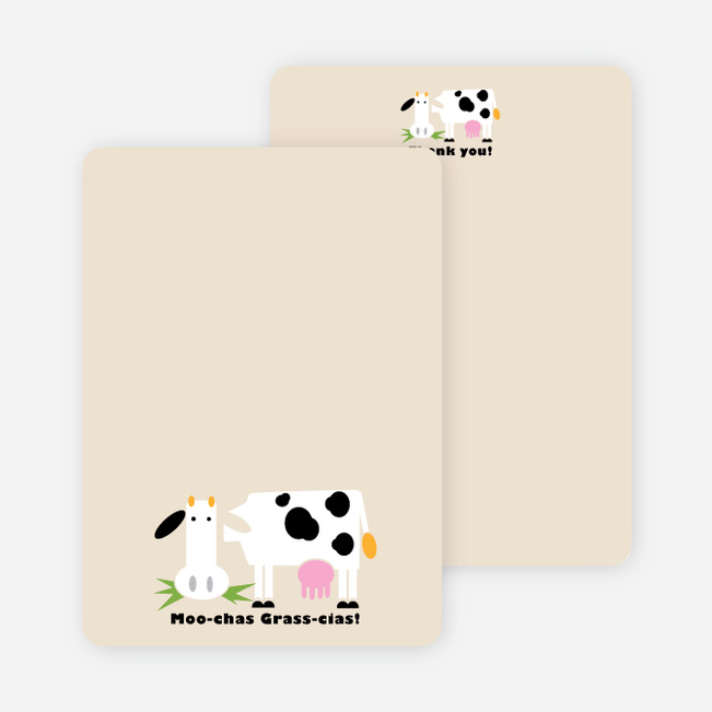 Moo-chas Grass-cias Cow Stationery - Ecru