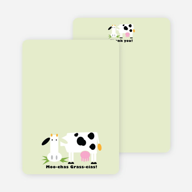 Moo-chas Grass-cias Cow Stationery - Honeydew