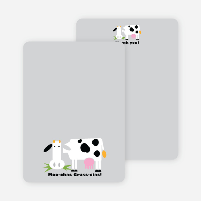 Moo-chas Grass-cias Cow Stationery - Nickel