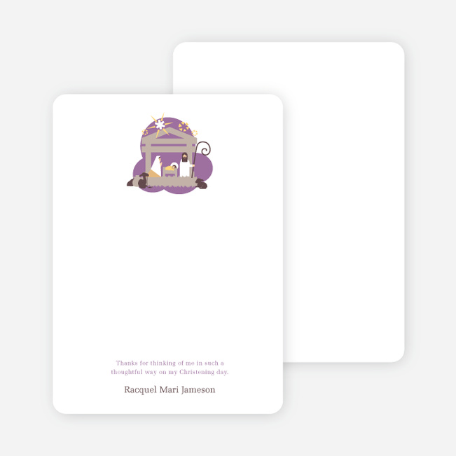 Note Cards: 'Nativity Scene Holiday Card' cards. - Lavender