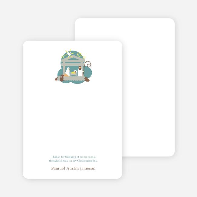 Note Cards: 'Nativity Scene Holiday Card' cards. - Greenish Blue