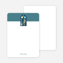 Note Cards: 'Stained Glass Christening Card' cards. - Blue