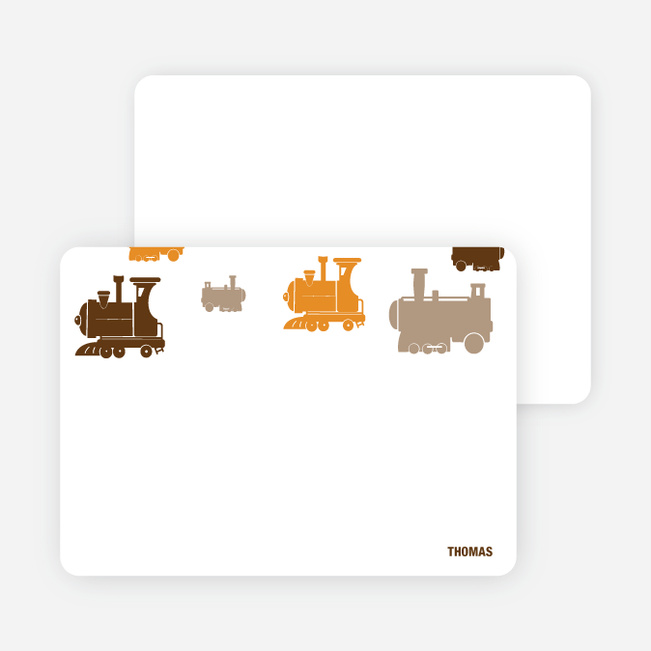 Note Cards: 'Thomas Loves the Train' cards. - Orange