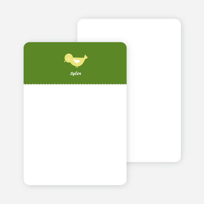 Notecards for the 'Birdie Announcement' cards. - Grass Green