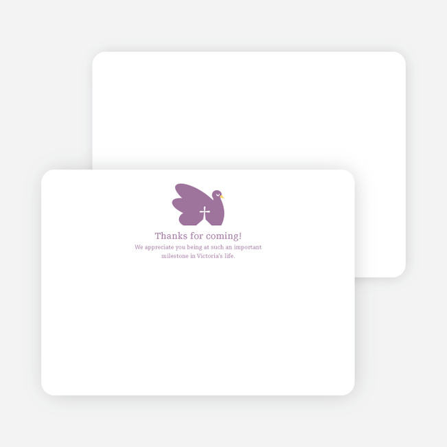 Notecards for the 'Swan Cross Baptism' cards. - Purple