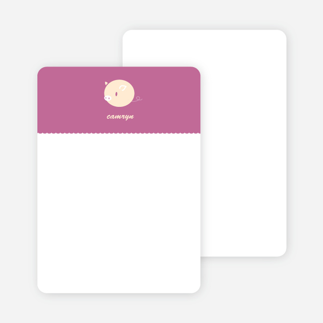 Personal Stationery for Darn Cute Piggy Baby Announcement - Magenta