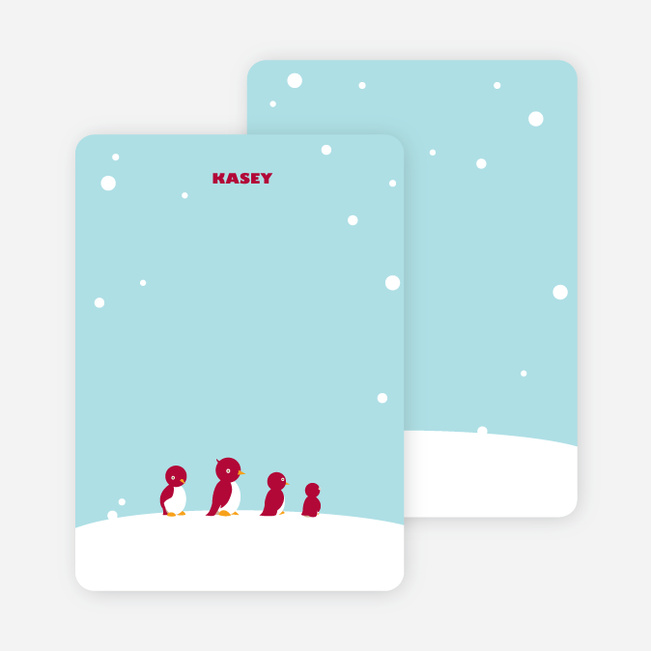 Personal Stationery for Happy Feet Penguin Birthday Invitation - Powder Blue
