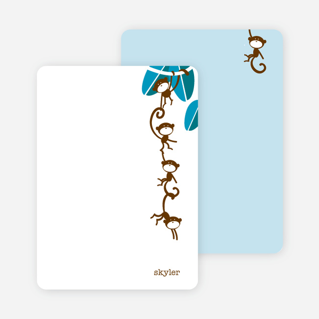 Personal Stationery for Monkey Business Birthday Invitation - Cappuccino