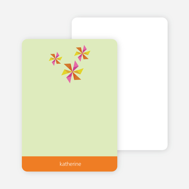Personal Stationery for Pinwheel Modern Birthday Party Invitation - Carrot Orange