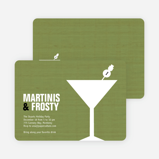 Snowman Martini Holiday Party Invitations - Asparagus