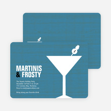 Snowman Martini Holiday Party Invitations - Blueberry