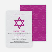 Star of David Bar and Bat Mitzvah Invitations - Pink