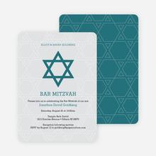 Star of David Bar and Bat Mitzvah Invitations - Blue