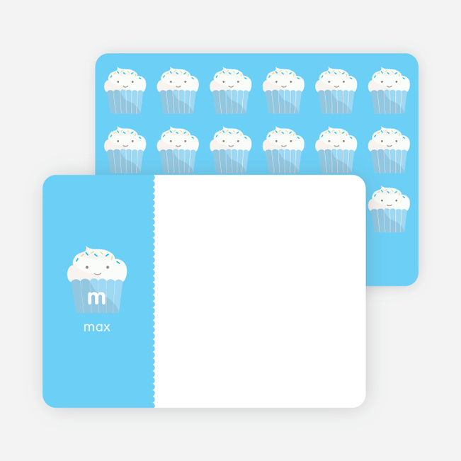 Stationery: 'Cupcake Birthday Invitation' cards. - Sky Blue