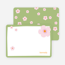 Stationery: 'Flowers' cards. - Apple Green