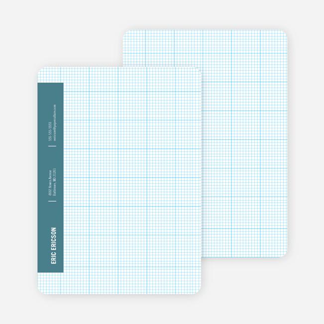 Stationery Grid Modern Note Cards - Blade Blue