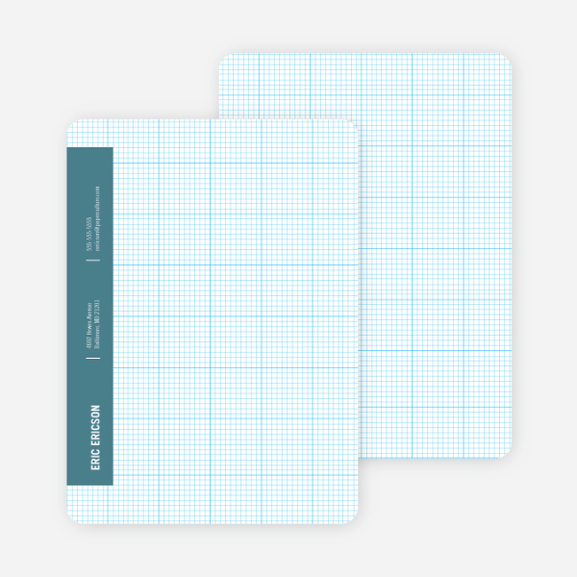 Stationery Grid Modern Note Cards - Blade Blue