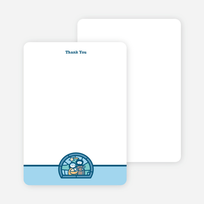 Stationery: 'Stained Glass Baptism' cards. - Light Blue