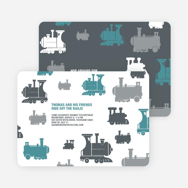 Thomas Loves the Train: Birthday Party Invitation - Blue