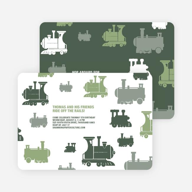 Thomas Loves the Train: Birthday Party Invitation - Green
