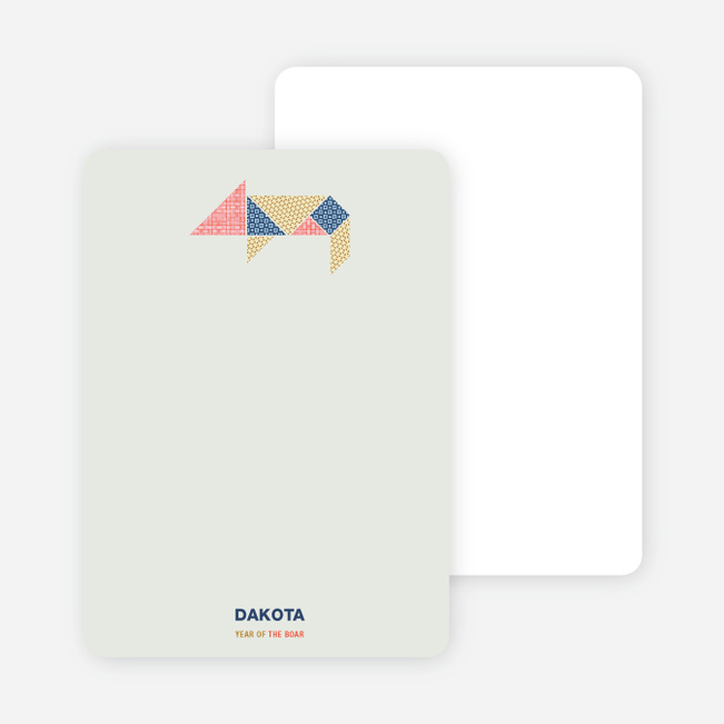 Year of the Boar Tangram Themed Note Cards - Multi