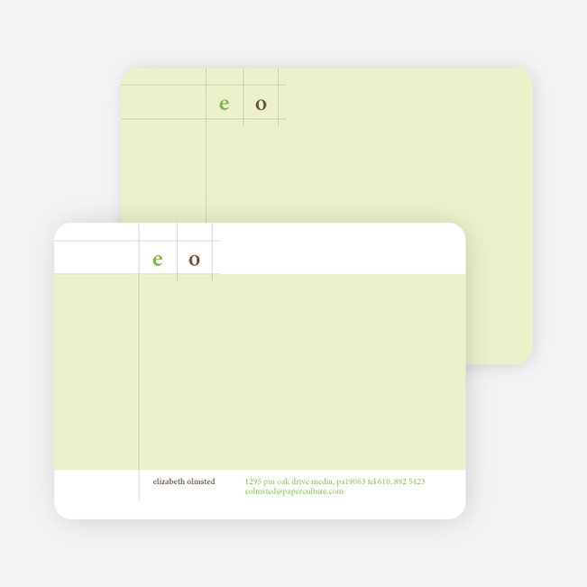Modern Lines Note Cards for Both Professional and Personal Use - Wasabi